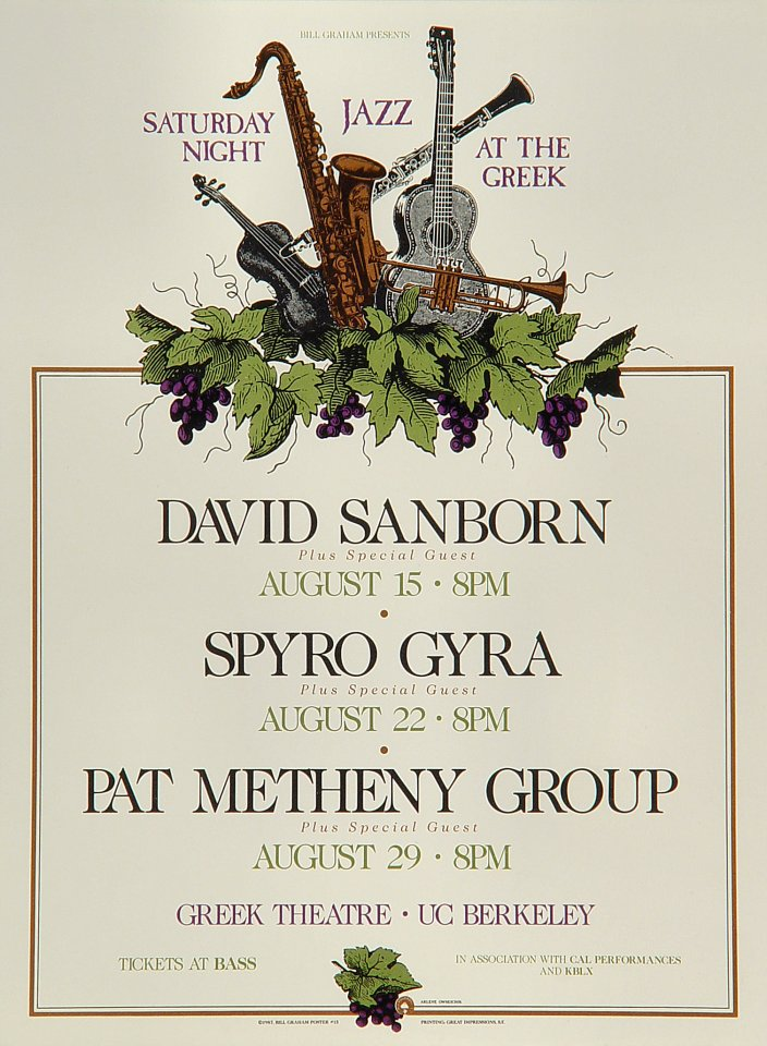 "David Sanborn Handbill from Greek Theatre on 15 Aug 87: 5"" x 6 3/4"""