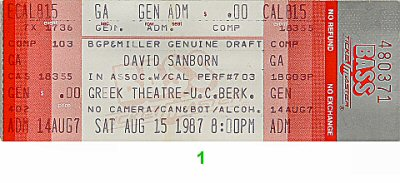 David Sanborn 1980s Ticket from Greek Theatre on 15 Aug 87: Ticket One