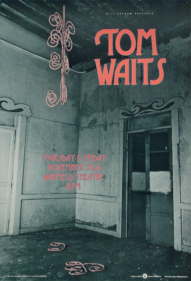 "Tom Waits Poster from Warfield Theatre on 05 Nov 87: 13"" x 18 3/4"""