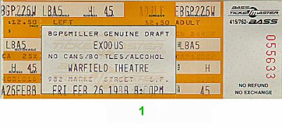 Exodus 1980s Ticket from Warfield Theatre on 26 Feb 88: Ticket One