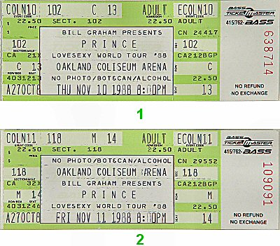 Prince 1980s Ticket from Oakland Coliseum Arena on 10 Nov 88: Ticket One