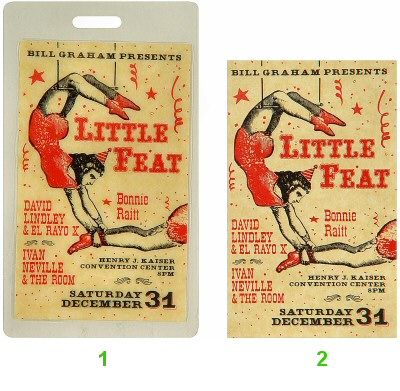 Little Feat Laminate from Henry J. Kaiser Auditorium on 31 Dec 88: Laminate 1