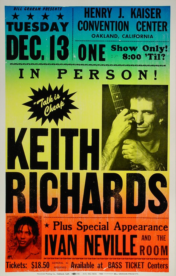 "Keith Richards Poster from Henry J. Kaiser Auditorium on 13 Dec 88: 14"" x 22 1/4"""