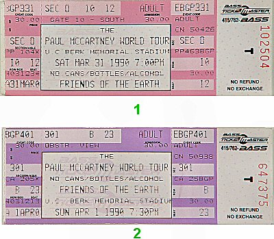 Paul McCartney 1990s Ticket from Memorial Stadium on 31 Mar 90: Ticket Two