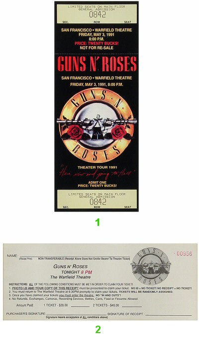Guns N' Roses 1990s Ticket from Warfield Theatre on 09 May 91: Ticket Two