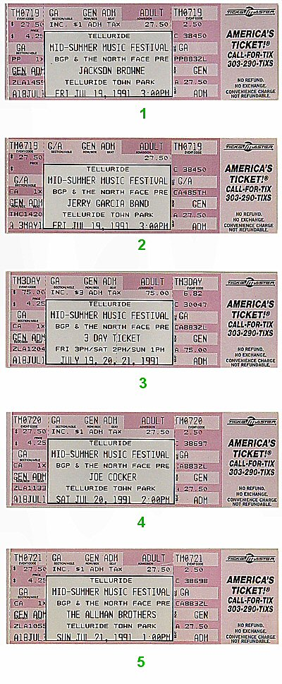 Jackson Browne 1990s Ticket from Telluride on 19 Jul 91: Ticket Four