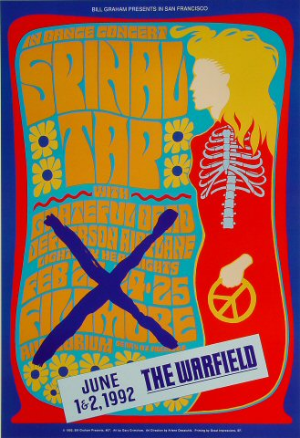 """Spinal Tap Poster from Warfield Theatre on 01 Jun 92: 13"""" x 19 1/4"""""""
