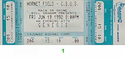 Genesis 1990s Ticket from Hornet Field on 19 Jun 92: Ticket One