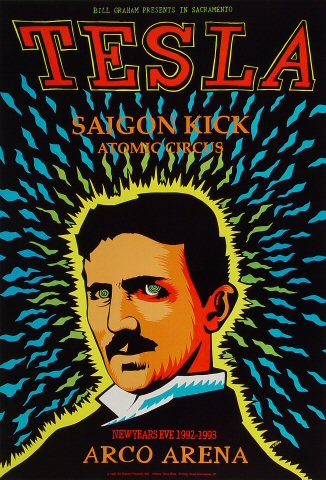 "Tesla Poster from Arco Arena on 31 Dec 92: 13"" x 19"""