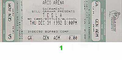 Tesla 1990s Ticket from Arco Arena on 31 Dec 92: Ticket One
