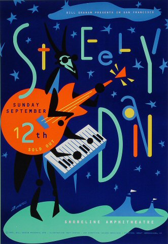 "Steely Dan Poster from Shoreline Amphitheatre on 12 Sep 93: 13"" x 19"""