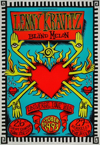 "Lenny Kravitz Poster from San Jose State Event Center on 26 Oct 93: 13"" x 19"""