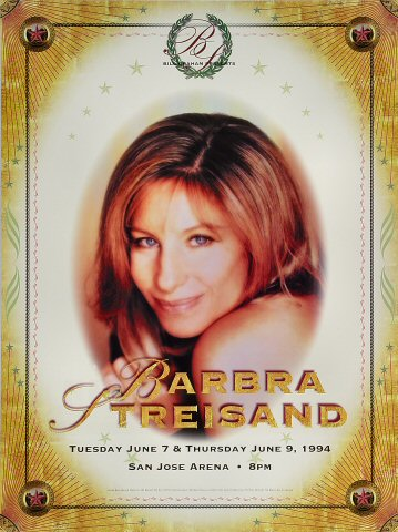"Barbra Streisand Poster from San Jose Arena on 07 Jun 94: 16"" x 21 1/2"""