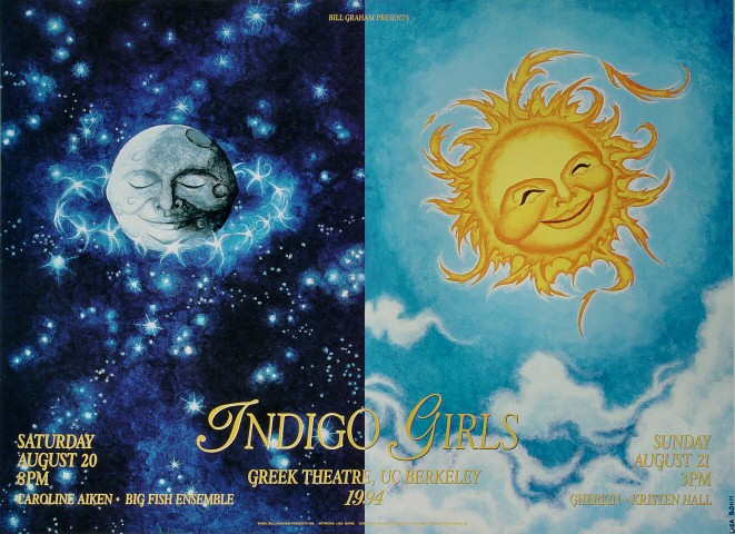 "Indigo Girls Poster from Greek Theatre on 20 Aug 94: 19"" x 26"""