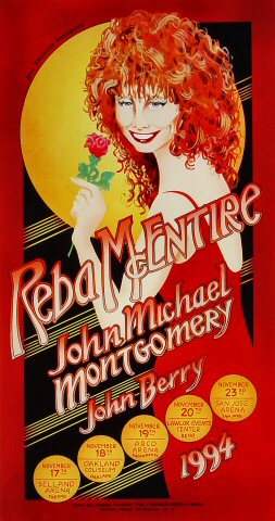 "Reba McEntire Poster from Selland Arena on 17 Nov 94: 10 1/4"" x 19"""