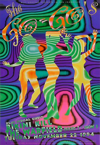The Go-Go&#39;s Poster from Warfield Theatre on 22 Nov 94: 13&quot; x 19&quot;