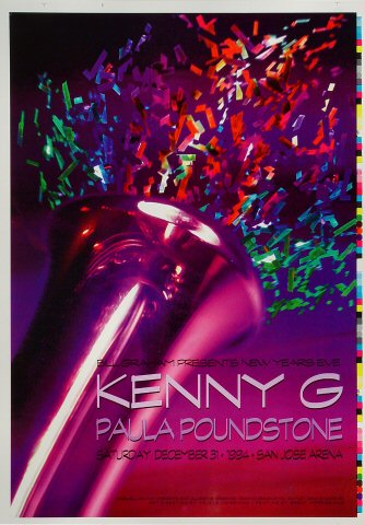 "Kenny G Proof from San Jose Arena on 31 Dec 94: 14"" x 20"""