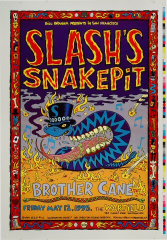 """Slash's Snakepit Proof from Warfield Theatre on 12 May 95: 14"""" x 20"""""""