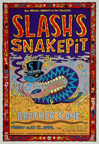 """Slash's Snakepit Poster from Warfield Theatre on 12 May 95: 13"""" x 19"""""""