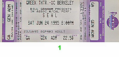 Seal 1990s Ticket from Greek Theatre on 24 Jun 95: Ticket One