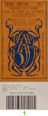 Pearl Jam 1990s Ticket from Golden Gate Park on 24 Jun 95: Ticket One