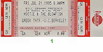 Hootie & the Blowfish 1990s Ticket from Greek Theatre on 21 Jul 95: Ticket One