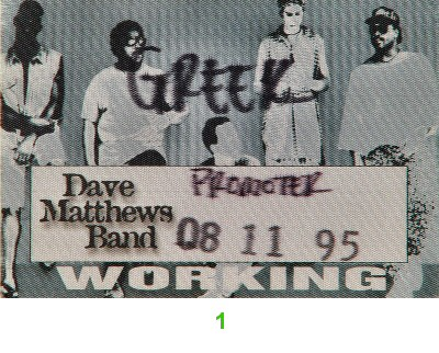 Dave Matthews Band Backstage Pass from Greek Theatre on 11 Aug 95: Pass 1
