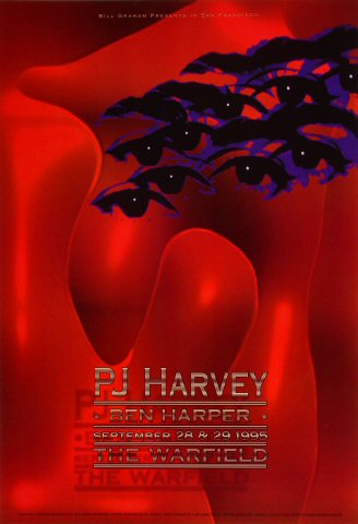 "PJ Harvey Poster from Warfield Theatre on 28 Sep 95: 13"" x 19"""