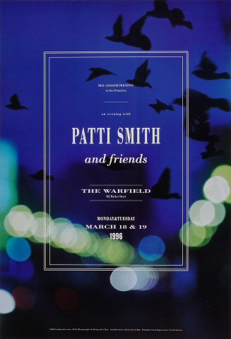 "Patti Smith Poster from Warfield Theatre on 18 Mar 96: 13"" x 19"""