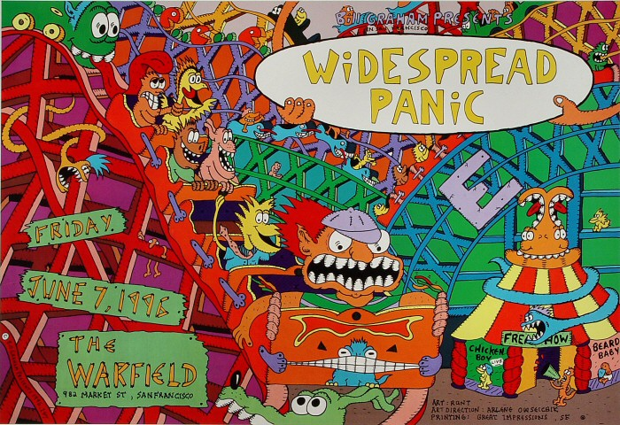 "Widespread Panic Poster from Warfield Theatre on 07 Jun 96: 13"" x 19"""