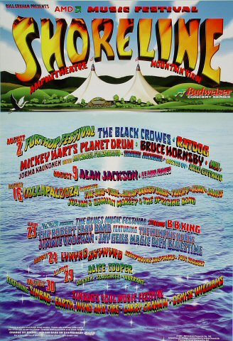 "The Black Crowes Poster from Shoreline Amphitheatre on 02 Aug 97: 13"" x 19"""