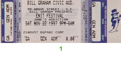 Jane's Addiction 1990s Ticket from Bill Graham Civic Auditorium on 22 Nov 97: Ticket One
