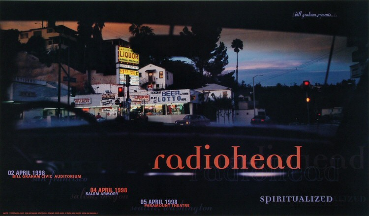 "Radiohead Poster from Bill Graham Civic Auditorium on 02 Apr 98: 11"" x 19"""