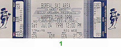 Bad Religion 1990s Ticket from Boreal Ski Area on 04 Jul 98: Ticket One