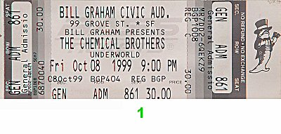 The Chemical Brothers 1990s Ticket from Bill Graham Civic Auditorium on 08 Oct 99: Ticket One