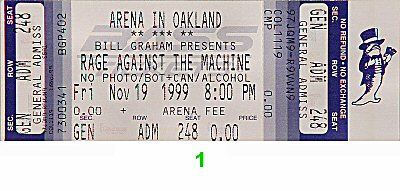 Rage Against the Machine 1990s Ticket from Oakland Coliseum Arena on 19 Nov 99: Ticket One