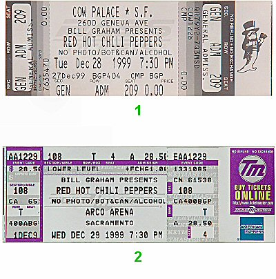 Red Hot Chili Peppers 1990s Ticket from Cow Palace on 28 Dec 99: Ticket Two