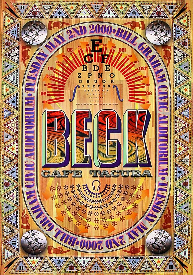 "Beck Poster from Bill Graham Civic Auditorium on 02 May 00: 21"" x 31"""