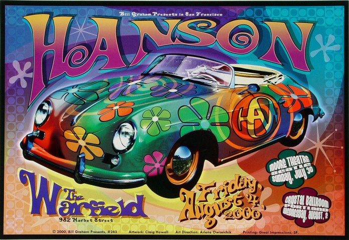 "Hanson Poster from Warfield Theatre on 04 Aug 00: 13"" x 19"""