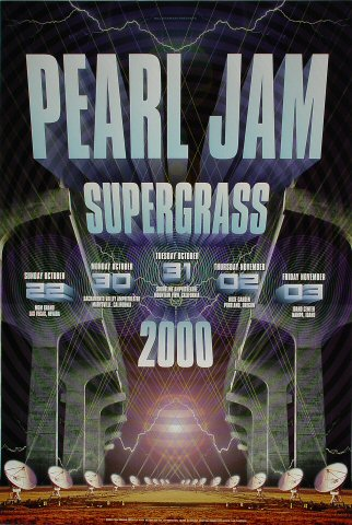 "Pearl Jam Poster from MGM Grand on 22 Oct 00: 21 1/2"" x 32"""