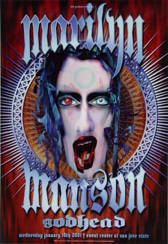 "Marilyn Manson Poster from San Jose State Event Center on 10 Jan 01: 13"" x 19"""