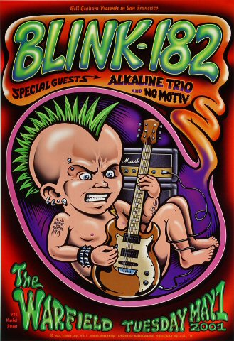 "Blink-182 Poster from Warfield Theatre on 01 May 01: 13"" x 19"""