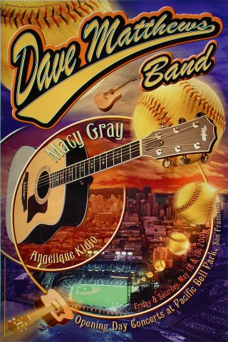 """Dave Matthews Band Poster from Pac Bell Park on 18 May 01: 20"""" x 30"""""""