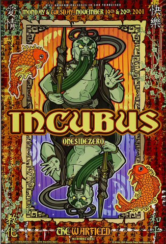"Incubus Poster from Warfield Theatre on 19 Nov 01: 13"" x 19"""
