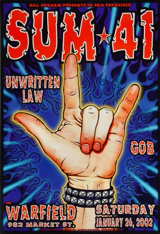 "Sum 41 Poster from Warfield Theatre on 26 Jan 02: 13"" x 19"""