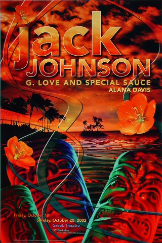 "Jack Johnson Poster from Greek Theatre on 18 Oct 02: 20"" x 30"""