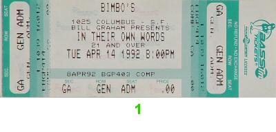 Midge Ure 1990s Ticket from Bimbo's 365 on 14 Apr 92: Ticket One