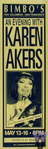 """Karen Akers Poster from Bimbo's 365 on 13 May 92: 5 1/2"""" x 17"""""""