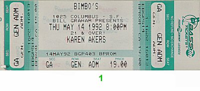 Karen Akers 1990s Ticket from Bimbo's 365 on 14 May 92: Ticket One