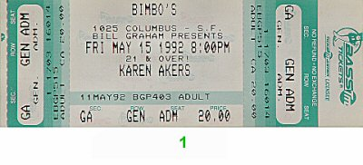 Karen Akers 1990s Ticket from Bimbo's 365 on 15 May 92: Ticket One